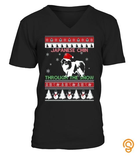 Japanese Chin Through The Snow Christmas T Shirt