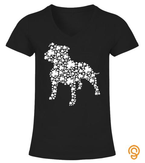 Pitbull Lucky Shamrock Dog Clover Happy St Patrick Day Lover T Shirt