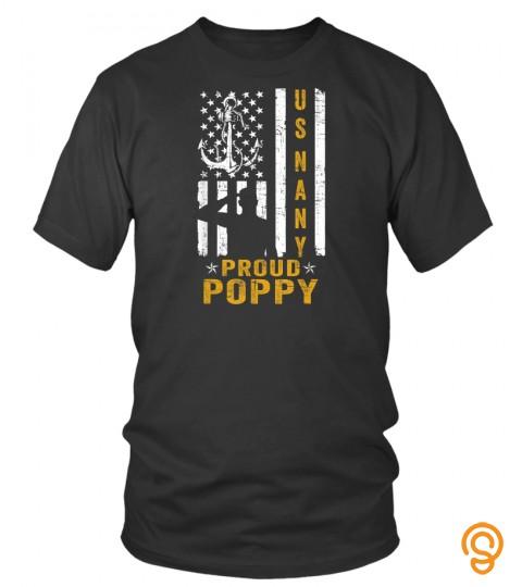 Us Military Proud Navy Poppy Veteran T Shirt