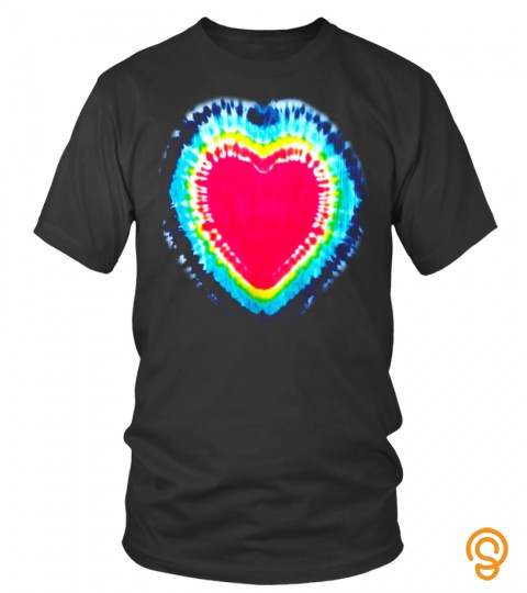 Tie Dye Hot Pinkl Heart Cute Rainbow Hippie Graphic T Shirt   Limited Edition