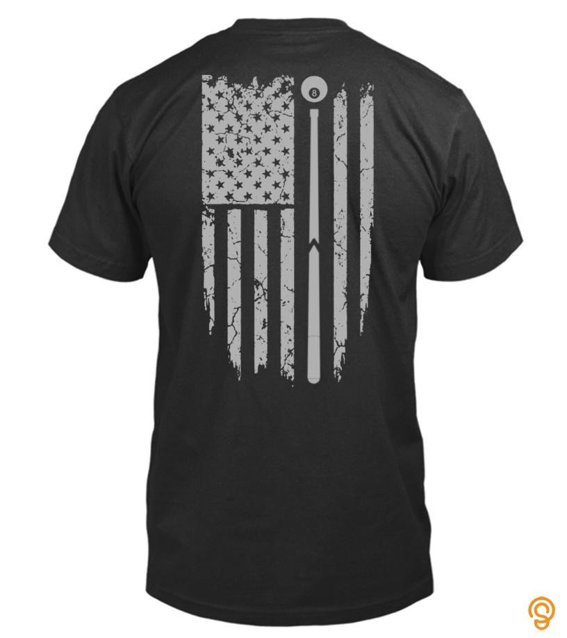 Overall Fit American Billard Flag Tee Shirts Sale