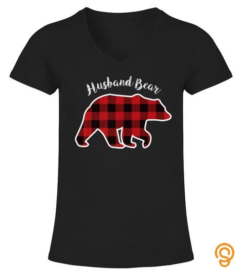 Husband Bear Men Red Plaid Christmas Pajama Family Tshirt   Hoodie   Mug (Full Size And Color)
