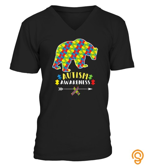 Cute Bear Autism Awareness Shirts Puzzle Pieces Ribbon Tshirt   Hoodie   Mug (Full Size And Color)