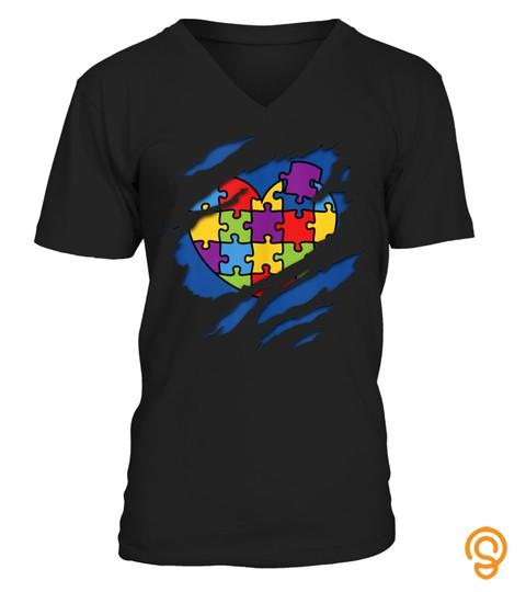 Autism Awareness Superhero Kind Puzzle Heart Tank Top