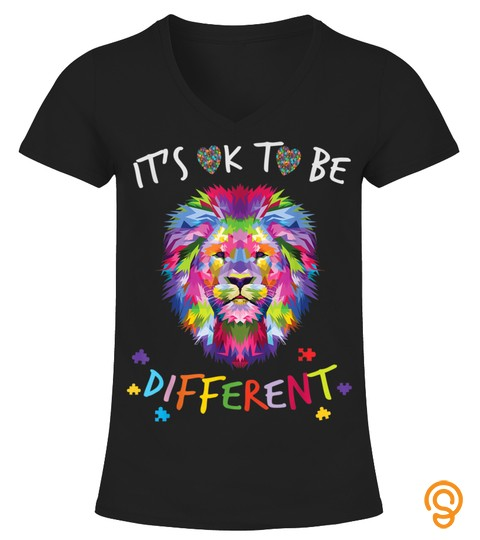 Autism Awareness Shirt Its Ok To Be Different Colorful Lion