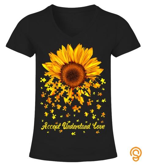 Accept Understand Love Sunflower Autism Awareness Gift T Shirt
