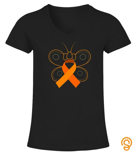 Butterfly Orange Ribbon Multiple Sclerosis Awareness Tshirt   Hoodie   Mug (Full Size And Color)