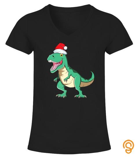 Santa Claus Trex Shirt Kids Women Christmas Dinosaur Tshirt   Hoodie   Mug (Full Size And Color)
