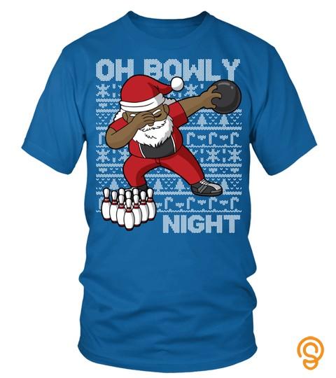 Oh Bowly Night Bowling African American Santa Christmas Long Sleeve T Shirt