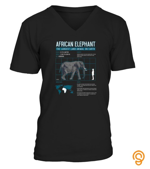 African Elephant Tshirt Facts Land Animal Lover Vintage Tshirt   Hoodie   Mug (Full Size And Color)