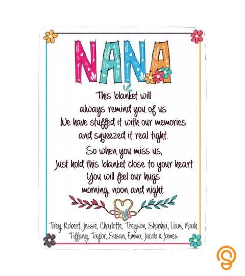 Nana Personalized Names Sherpa Fleece Blanket 60X80 V2