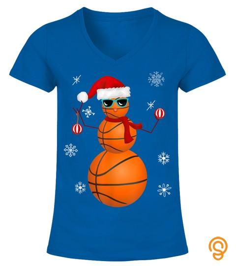 Christmas Basketball Snowman Santa Claus Hat Funny Baller T Shirt