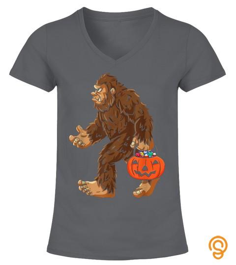 Bigfoot Jack O Lantern Halloween T Shirt