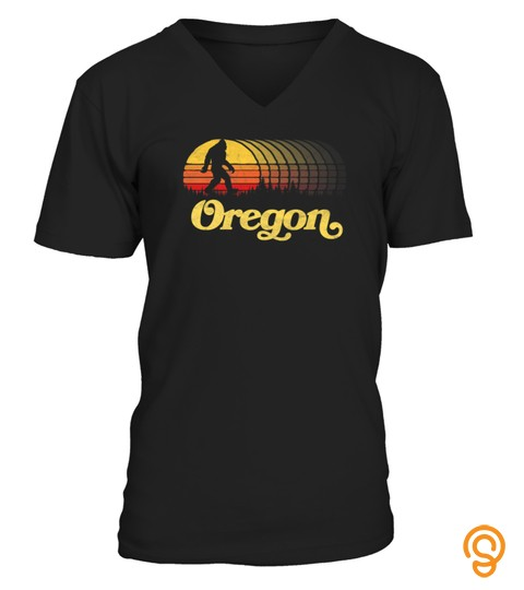 Oregon Bigfoot  Sasquatch Silhouette Retro 80S Sun Tshirt   Hoodie   Mug (Full Size And Color)