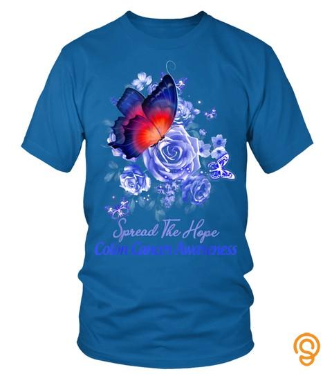 Colon Cancer Awareness Blue Flower Butterfly T Shirt