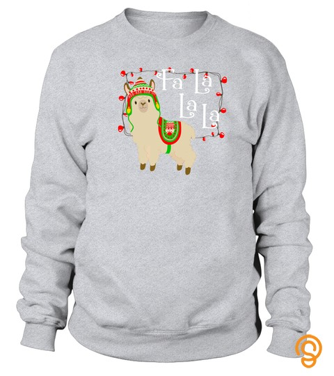 Christmas Llama Shirt Cute Fa La Holiday Light Funny Tshirt   Hoodie   Mug (Full Size And Color)