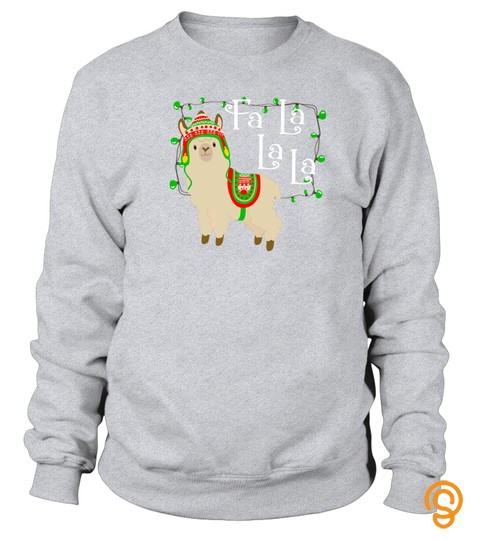 Christmas Llama Shirts Cute Fa La Holiday Light Funny Tshirt   Hoodie   Mug (Full Size And Color)