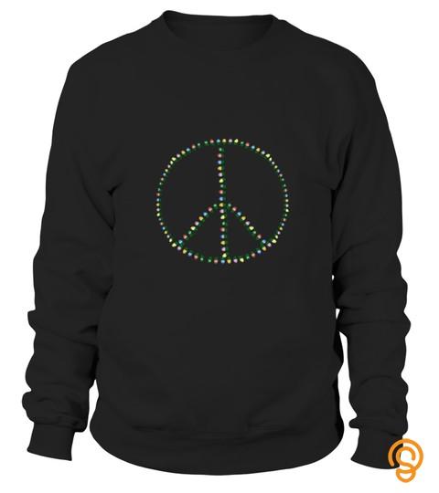 Men S Peace Sign Christmas Lights T Shirt 2Xl Kelly Green
