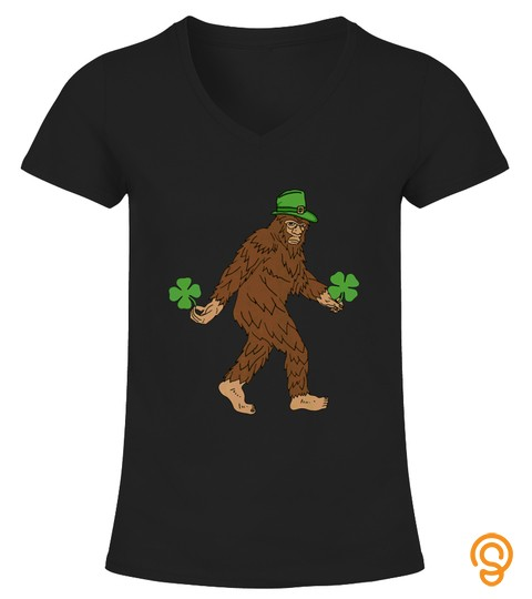 Kids Lucky Bigfoot Shamrocks T Shirt St Patricks Day Tshirt   Hoodie   Mug (Full Size And Color)