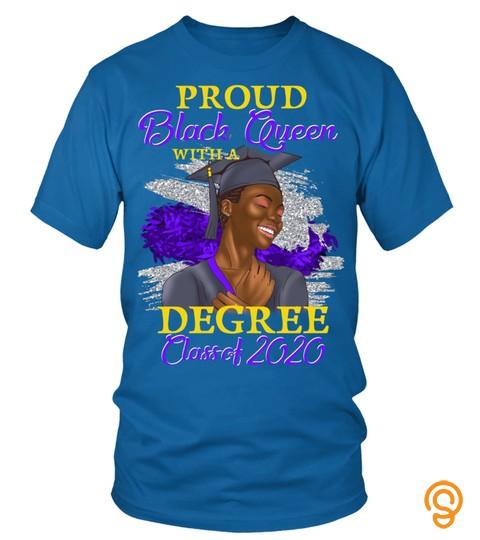 Proud Black Queen Degree Class Of 2020 Graduation Purple Long Sleeve T Shirt