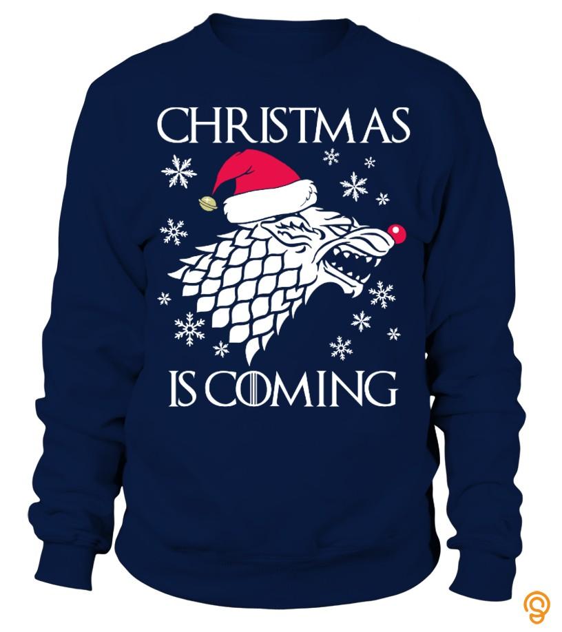 clothing-christmas-is-coming-christmas-sweater-tee-shirts-screen-printing