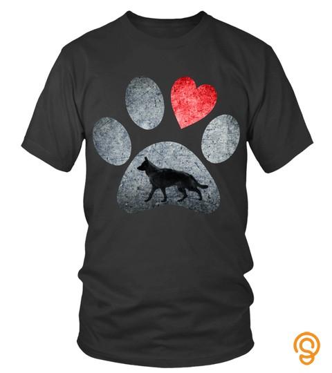 Dog Tshirt   German Shepherd Paws Dog Lovers Red Heart Gift Hoodie Pullover Hoodie