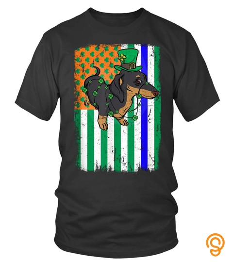 Dachshund Irish Usa Flag Police Officer Cop St Patrick's Day T Shirt