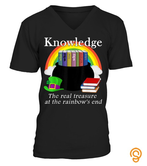Saint Patrick's Day Teacher T Shirt  Knowledge Is Treasure