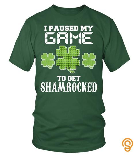 St Patricks Day T Shirt   Video Gamer Shirt   Shamrock Game