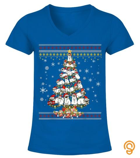 Funny Christmas Tree Pug Dog Merry Christmas Ugly Sweater T Shirt