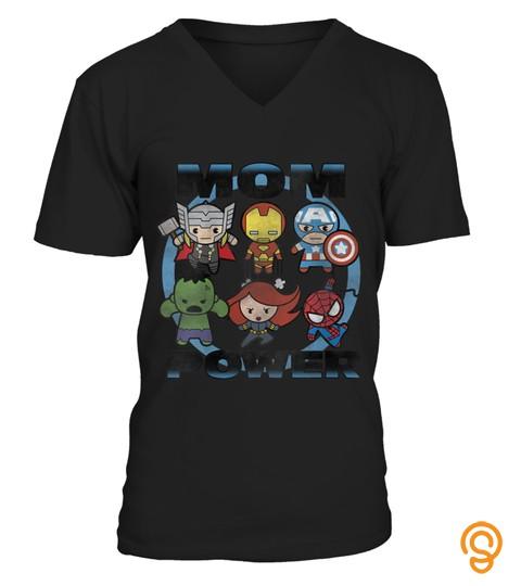 Womens Marvel Avengers Mom Power Kawaii Group Shot V Neck T Shirt