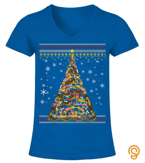 Funny Christmas Tree Dachshund Merry Christmas Ugly Sweater T Shirt