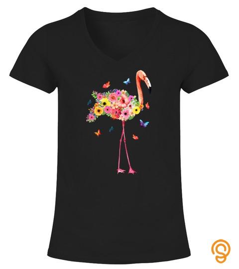 Pink Flamingo Watercolor T Shirt Hawaiian Flowers Floral
