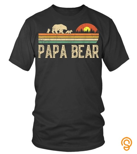 Mens Papa Bear Vintage Art Daddy Wildling Fathers Day Dad T-Shirt