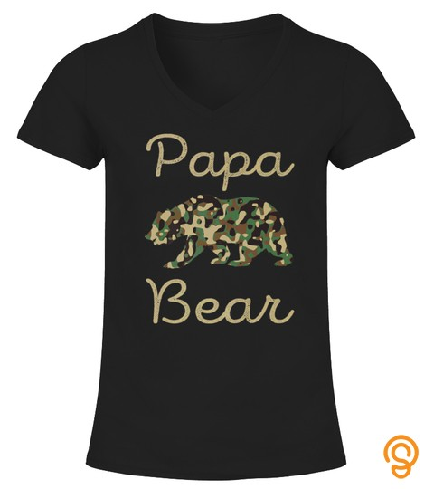 Mens Papa Bear Camo Tshirt Great Fathers Day Gift