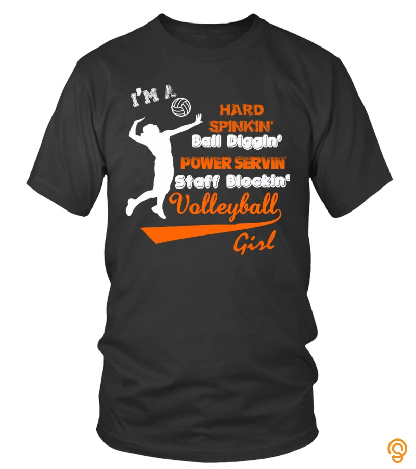 Wardrobe Essential Staff Blockin' Volleyball Girl T Shirts Printing