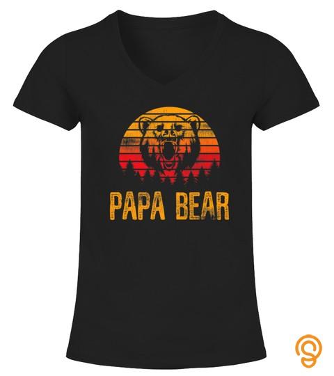 Mens Fathers Day Papa Grandpa Distressed Papa Bear Sunset Premium Tshirt