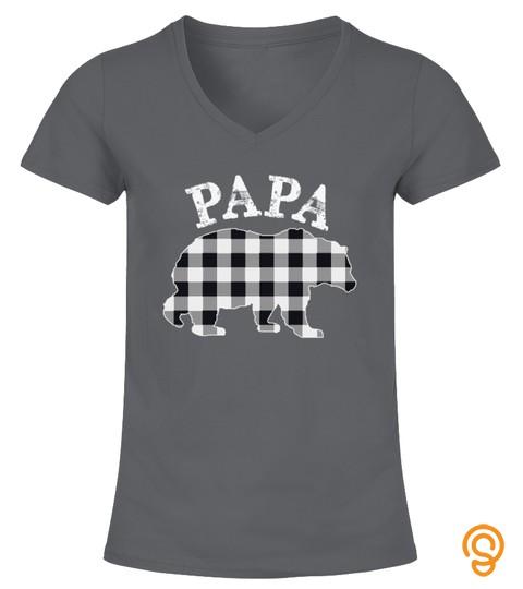 White Plaid Papa Bear Buffalo Matching Family Pajama Tshirt