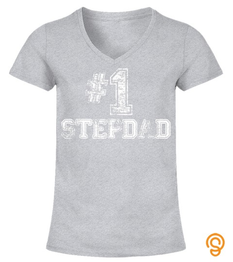 Mens 1 Stepdad T Shirt Step Dad Number One Father's Day Gift Tee