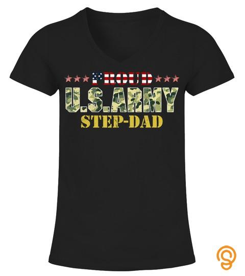 Vintage Proud Step Dad U.s.army T Shirt Veteran Shirts