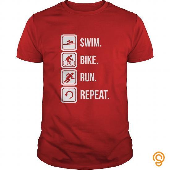 Easy Wear Triathlon  Swim Bike Run Repeat T Shirts Gift