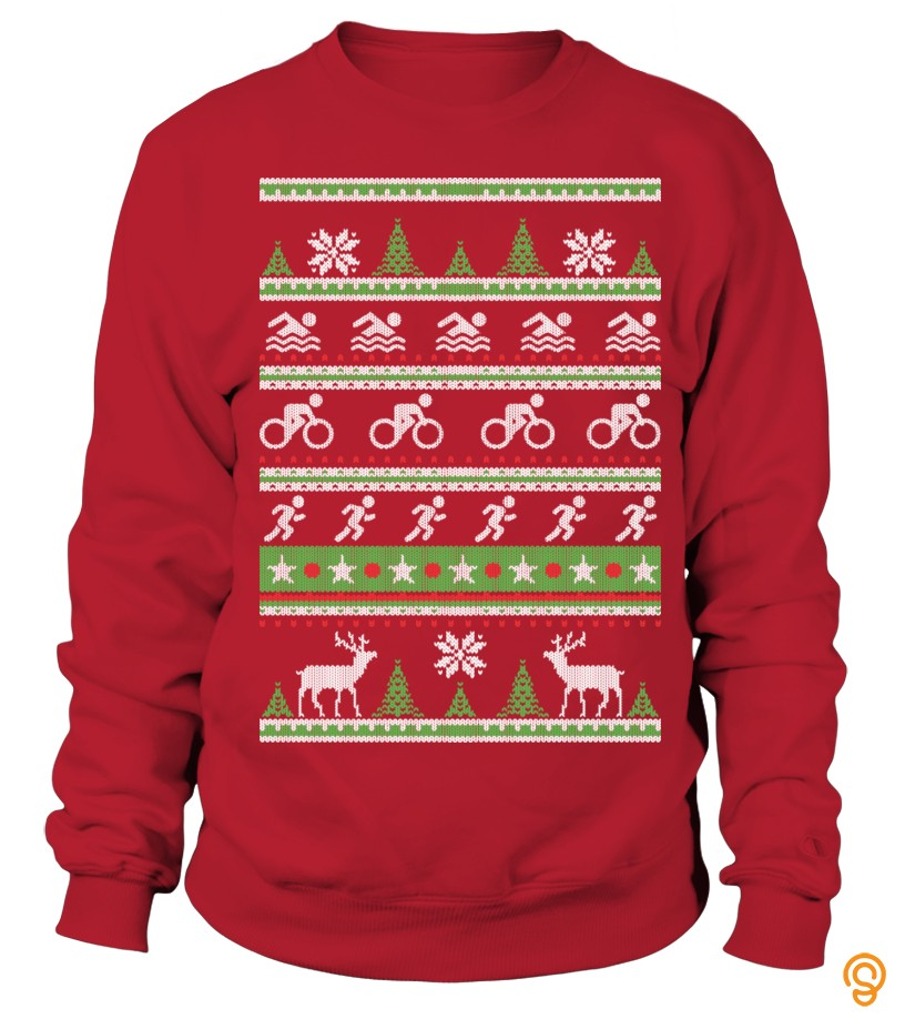 Cheery Triathlon Ugly Christmas Sweatshirt Tee Shirts Review