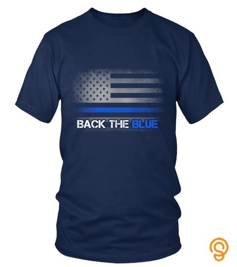 02453 Distressed Thin Blue Line Flag   Back The Blue Tee T Shirt Sweatshirt Pullover Hoodie