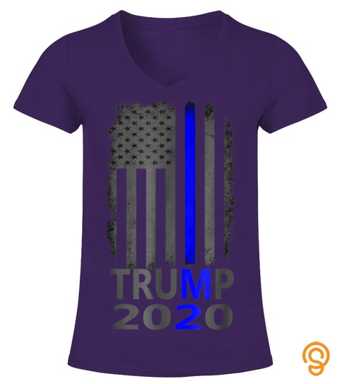 Thin Blue Line Trump 2020 T Shirt American Flag Vintage
