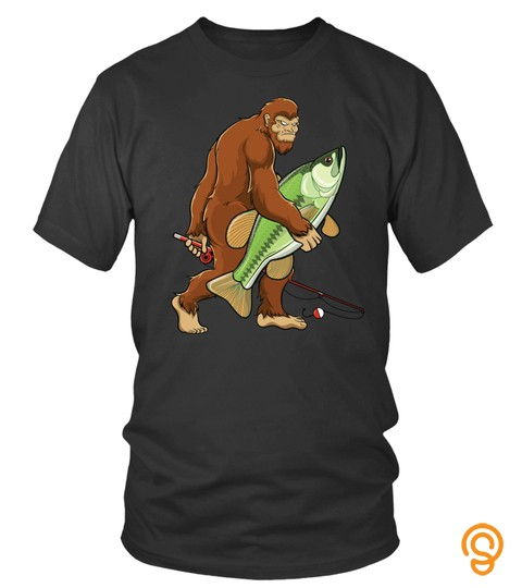 Fisherman Funny Shirt Sasquatch Bass Fish Bigfoot Fishing Sweatshirt