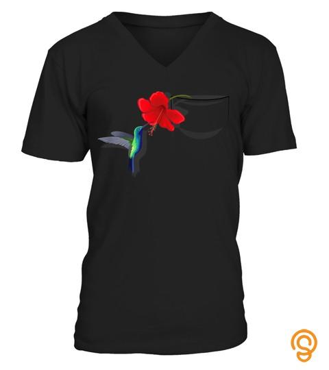 Hummingbird Flower In Pocket T Shirt Not Pocket Real