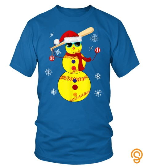 Christmas Softball Bat Snowman Santa Snowflake Girls Youth T Shirt
