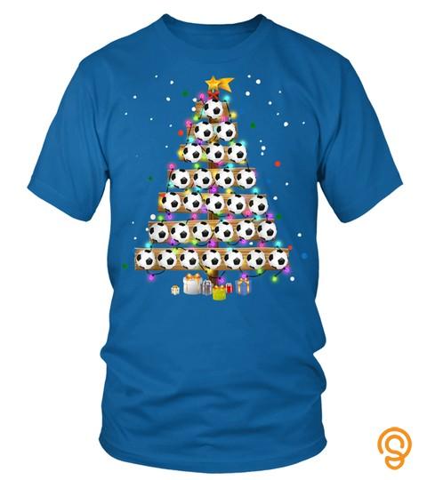 Funny Soccer Christmas Tree Light Tee Ornament Decor T Shirt