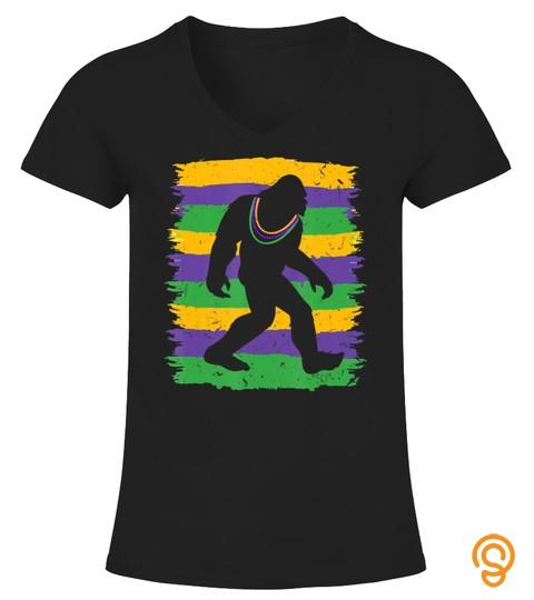 Vintage Bigfoot Lover Costume Happy Mardi Gras Gifts T Shirt
