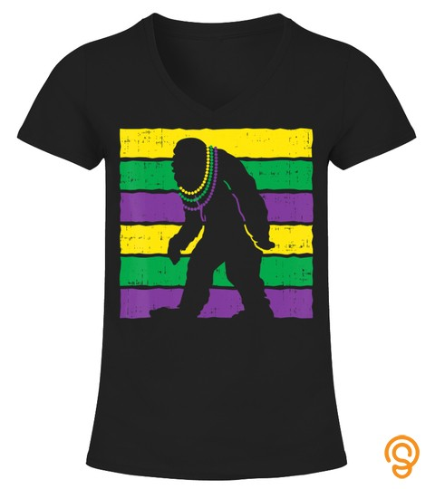 Bigfoot Sasquatch Beads Purple Green Yellow Funny Mardi Gras T Shirt